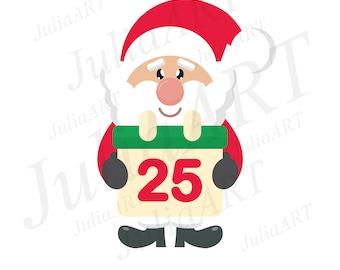 cartoon cute santa claus with calendar