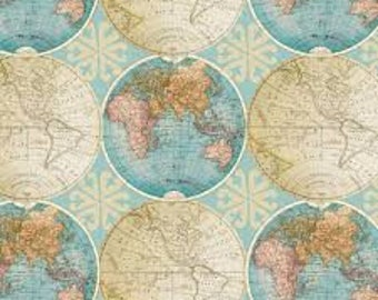 World map fabric etsy vintage globes of the world fabric by davids textiles by the half yard 44 gumiabroncs Gallery