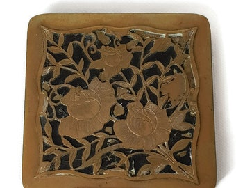 vintage french bronze compact