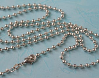 3mm 925 Sterling Silver Ball Chain with Lobster Clasp, 30 Inch Sterling Silver Bead Chain