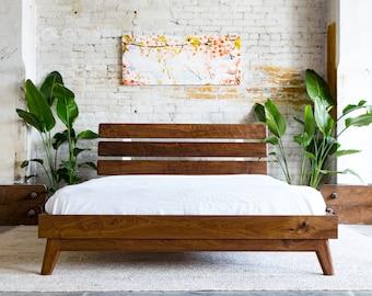 Platform Bed Bed Frame Midcentury Modern Bed Walnut Bed
