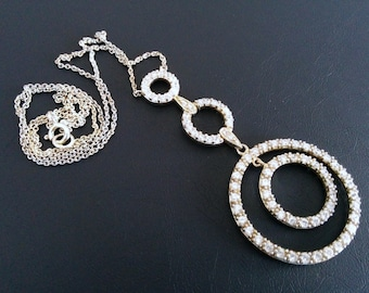 "Multi Circle Sterling Silver  CZ Dangle Necklace with  18"" chain SALE"