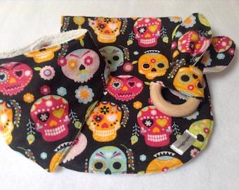 Baby Gift Set, Baby Shower Gift, Burp Cloth Set, Skulls, Alternative