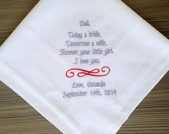 wedding handkerchief,father of the bride hankie,wedding gifts from parents,embroidered hankies for weddings,mens handkerchiefs, handkerchief