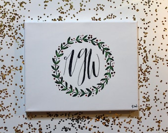 monogram canvas with red and green leaves: 8 inches by 10 inches on stretch canvas