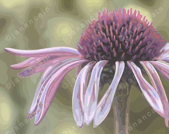 """Flower Giclee art print on archival paper of my original acrylic painting """"Coneflower."""""""