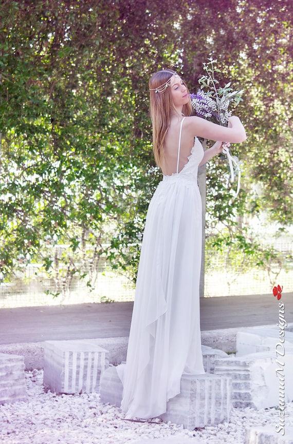 Back Wedding Bridal Bridal Wedding Long Lace SuzannaM Dress Chiffon Open Dress Gown Noemi Long Gown Wedding Wedding Dress Dress qx7BWwt4n