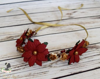 Handcrafted Red and Gold Poinsettia Flower Crown - Christmas Wedding Headpiece - Holiday Hair Wreath - Poinsettia Headband - Flower Girl
