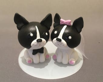 Boston Terriers Wedding Cake Topper, Dog Cake Topper, Pet Topper, Cake Figurine, Bride and Groom