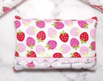 Pink and Red Strawberry Tissue Holder with Ric Rac Trim