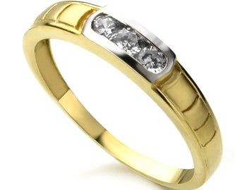Men 14K White and Yellow Gold Round CZ Three Stone Channel Set Wedding Band Ring(ATR294W)