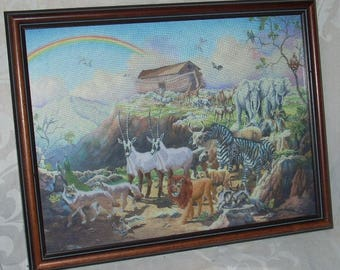 """Vintage Noah's Ark Crewel Embroidery Wood Frame and Glass 17 1/2"""" x 13 1/2"""""""