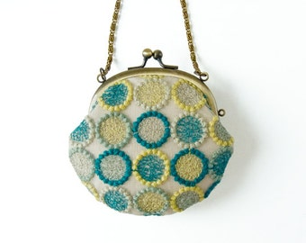 Metal frame coin purse with Chain // Dandelions Lace