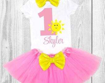 you are my sunshine first birthday baby girls first birthday outfit sunshine first birthday outfit summer first birthday pink and yellow