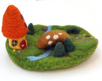 Needle Felted Gnome Fairy House Land - Soft Sculpture Figurine - Felt Woodland Home Landscape - Felted Gnome House Miniature
