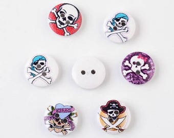 set of 6 buttons 15 x 4.5 mm multicoloured pirate skull new