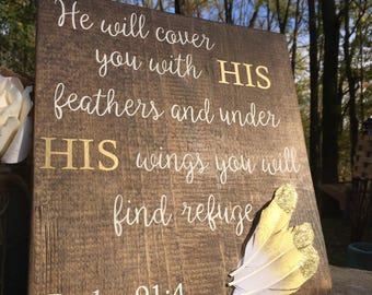 Psalm 91:4 wooden sign + religious sign + gold feather + scripture + wooden display + rustic sign + gold and white + feathers + psalm