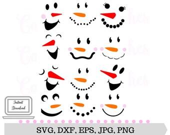 Snowmen SVG - Snowman Faces SVG - Silhouette Cut - Digital Cut File - Cricut SVG - Vector File - Instant Download - Svg, Dxf, Jpg, Eps, Png