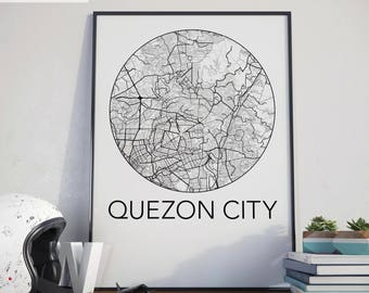Quezon City, Philippines Minimalist City Map Print