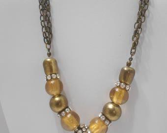 Vintage Rhinestone Disco Ball Necklace (0035)