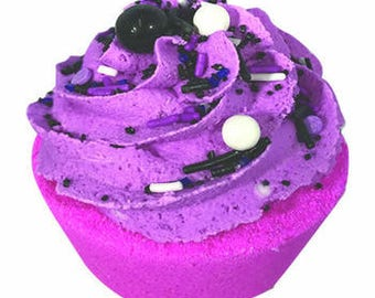 Organic Bath Bomb Cupcake- Vanilla and Black Rasberry