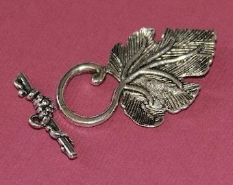 5 sets of Antiqued silver finished leaf toggle claps - 22X37mm  (Lead safe/ Nickle safe)