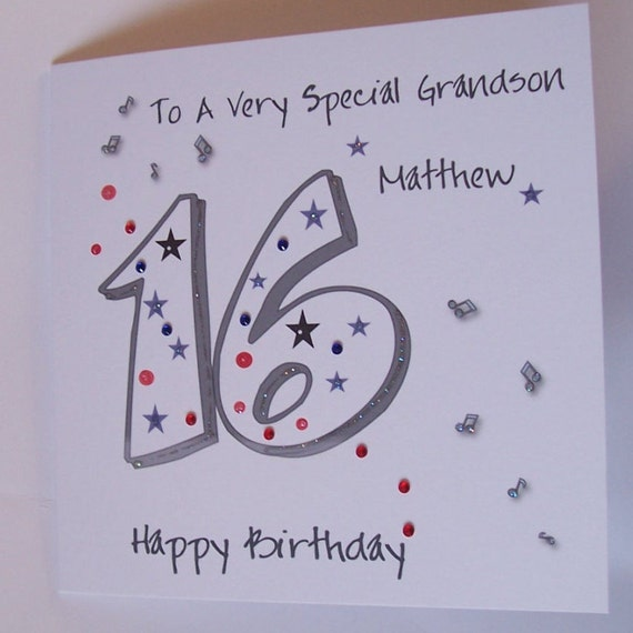 Personalised Handmade 16th Birthday Card. Son Grandson