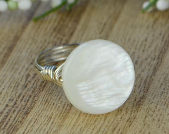 Sale! White Circle Shell Mother of Pearl Wrapped Ring -Sterling Silver, Yellow or Gold Filled Wire- Size 4 5 6 7 8 9 10 11 12 13 14
