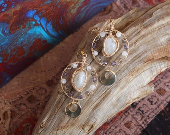Gold Rainbow Moonstone Earrings with Shiny Purple Czech Glass, Smoky Quartz and Gold Charms