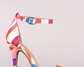 Printed Ankle Strap Stiletto Heel