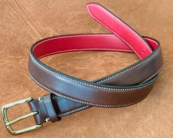 Hand stitched leather belt