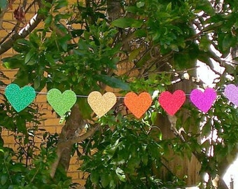 Rainbow Heart Garland, Baby Shower, Birthday Garland, Wedding Garland