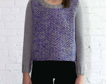 Colorblock Cropped Handknit Sweater