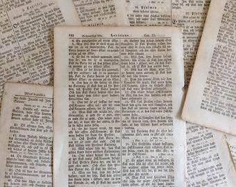Antique bible pages 1857, old foreign language book pages, old bible pages for decoupage, scrapbooking, craft. Bundle of antique pages.