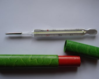 Medical German Mercury Thermometer with paper case /1980s