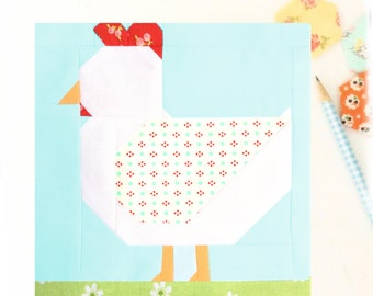 Chicken Hen Farmgirl Bird Animal PDF Quilt Block Pattern - Includes instructions for 6 inch and 12 inch Finished Blocks
