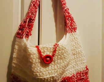 Cute Pink and White Crochet Bag