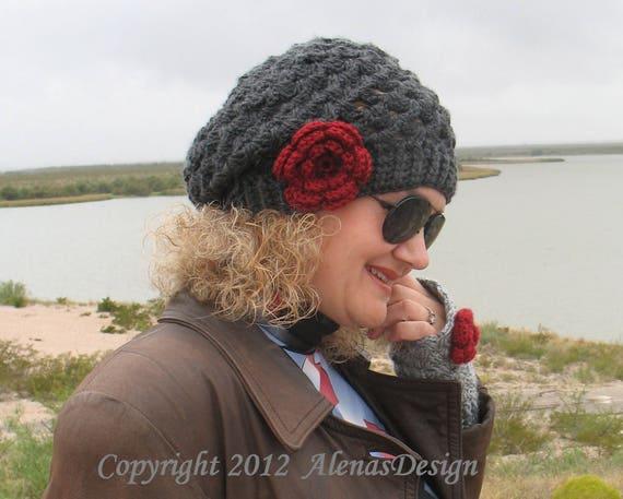 Crochet PATTERN Set - Mary Toddler Child Teen Adult Slouchy Hat Fingerless Gloves Girls Ladies Women Lace Flower Spring Autumn Winter Scarf
