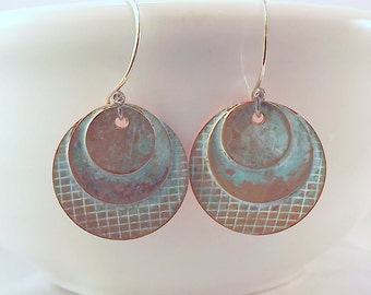 Textured Copper Verdigris Three Disk Earrings