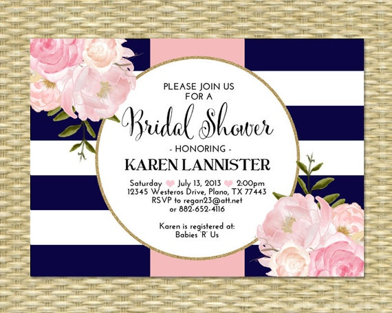 Pink And Navy Blue Wedding Invitations: Bridal Shower Invitation Navy Blue Pink Gold Glitter Stripes