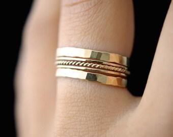 Gold Twist stacking ring set of 5, gold stack ring, skinny gold stackable ring, gold fill twist ring set, delicate gold ring, set of 5