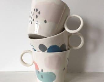 BIG MUG handmade porcelain abstract pattern cup