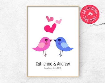 Engagement Print, Marriage Print, Love Print, Love Poster, Lovebirds Print, Love Wall Art, Gift for Him, Gift for Her, Gift for Lovers