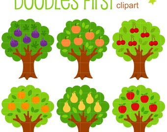 Fruit Bearing Trees Clip Art for Scrapbooking Card Making Cupcake Toppers Paper Crafts