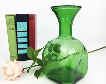 Art Glass Vase or Pitcher -  Vintage (Mid Century) Emerald Green - 1 Liter Green Glass Pitcher / Vase