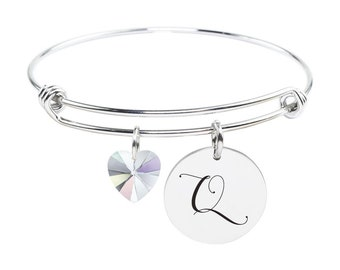 Initial Bangle made with Crystals from Swarovski - Q - SWABANGLE-GLD-AB-Q - Silver