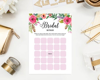 Instant Download - Wild Flowers Bridal Shower Bingo Game Cards