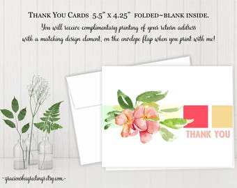Thank You Cards, Thank You Notes, Thank You Stationery, Personalized Thank You Cards, Birthday, Bridal, Baby Shower, Printable TY602