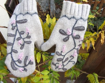 RESERVED - Mittens knitted wool felted, hand embroidered