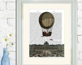 Airship Over City Hot Air Balloon Print, Upcycled Dictionary Print, Balloon Illustration wall art wall decor wall hanging book art